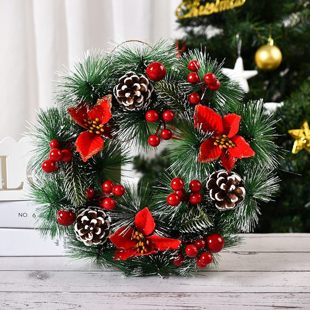 UVYR Artificial Christmas Wreath Jacksonville Mall Max 87% OFF with Pinecones Cherry Decoratio