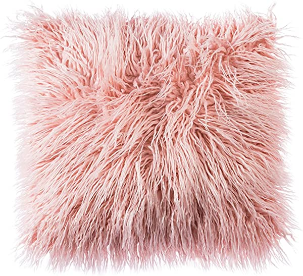 OJIA Deluxe Home Decorative Super Soft Plush Mongolian Faux Fur Throw Pillow Cover Cushion Case 18 X 18 Inch Blush Pink