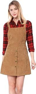 Women's Straps Button Decor A-line Pinafore Corduroy Overall Dress