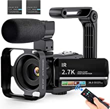 Video Camera 2.7K Ultra HD Camcorder YouTube Vlogging Camera with Microphone 36MP IR Night Vision 16X Digital Zoom 3 inch ...