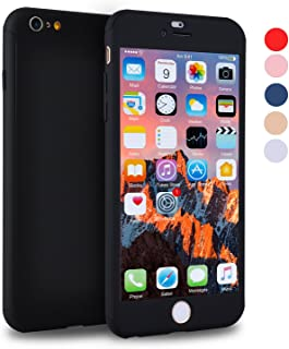 iPhone 6s Plus Case, VANSIN 360 Full Body Cover Ultra Thin Protective Hard Slim Case Coated Non Slip Matte Surface with Screen Protector for Apple iPhone 6 Plus & iPhone 6s Plus - Black