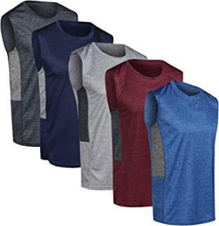 Real Essentials 5 Pack: Men's Dry-Fit Active Athletic Tech Tank Top - Workout & Training Activewear