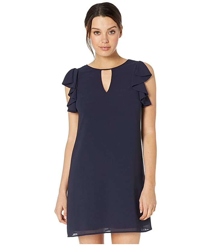 Vince Camuto Chiffon Float with Ruffle at Armhole and Keyhole (Navy) Women