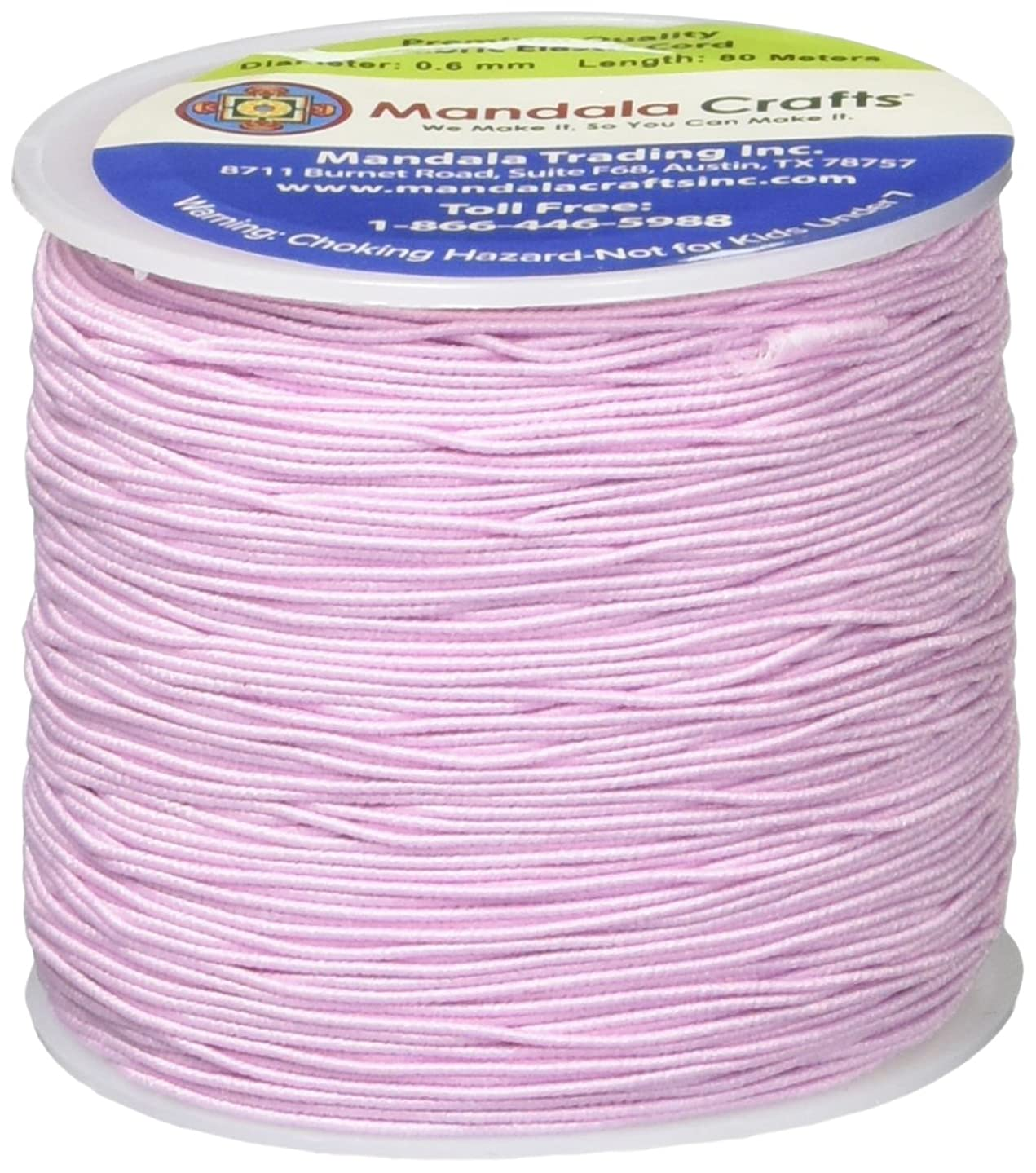 Mandala Crafts 0.6mm 80M Round Rubber Fabric Crafting Stretch Elastic Cord String (Pink)