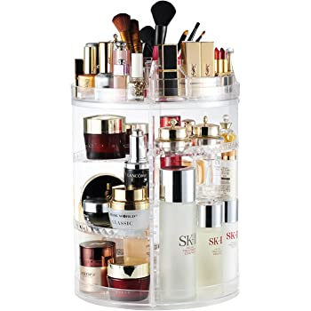 Makeup Organizer, 360 Degree Rotating Adjustable Cosmetic Storage Display Case with 8 Layers Large Capacity, Fits Jewelry,Makeup Brushes, Lipsticks and More, Clear Transparent