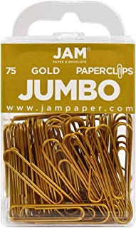 JAM Paper Colored Jumbo Paper Clips - Gold Paperclips - 75/pack