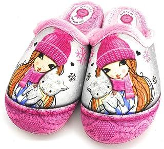 ALCALDE - Zapatillas Pantuflas de IR por casa Rosa, Dibujo de muñeca, Destalonada, Suela de Goma, para: Niña