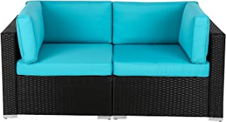 Kinbor Outdoor Garden Wicker Loveseat Sofa (2-Piece Set) PE Rattan Sofa Sectional Furniture Set with Washable Cushions, Turquoise
