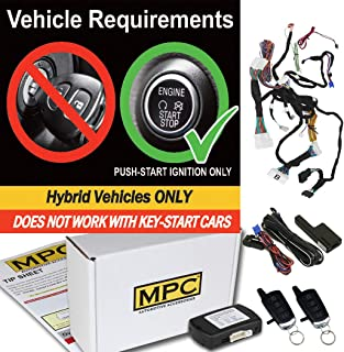 MPC Complete Plug-n-Play (2) 4-Button 2-Way Extended Range Remote Start Kit for 2014-2019 Toyota Highlander Hybrid - Push-to-Start - Includes Bypass and T-Harness - Firmware Preloaded