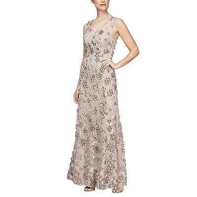 Alex Evenings Long A-line Rosette Dress With Short Sleeves Sequin Detail