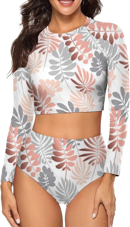 Tvsuh-u Womens Bathing Suit 2 PCS Abstract Tropical Leaves Long Sleeve Rash Guard Swimsuits