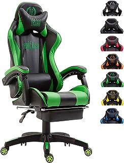 CLP Silla De Oficina Racing Ignite En Simil Cuero I Silla Gaming con 2 Cojines I Silla De Ordenador con Ruedas & Reposapies Abatible I Color: Negro/Verde