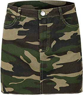 Women's Soft Camouflage Camo Casual Mini Skirt w/Pocket
