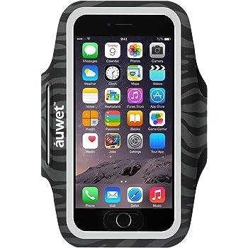 Auwet スポーツ スマホ アームバンド【滑り止め+指紋認証対応】iPhone 11 Pro Max/11 Pro/XR/Xs Max/11/8/7/6S/6 Plus スマホケース メンズ レディース兼用 防汗 縫い目なし ランニング アームポーチ 小物収納ポケット付 調節可能 夜間反射 Android Galaxy Xperia など6インチまでの大きいスマホに対応