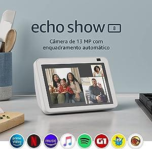 """Novo Echo Show 8 (2ª Geração, versão 2021): Smart Display HD de 8"""" com Alexa e câmera de 13 MP - Cor Branca"""