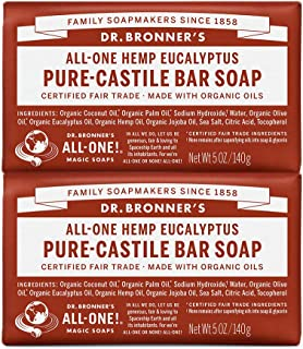 Dr. Bronner's - Pure-Castile Bar Soap (Eucalyptus, 5 ounce, 2-Pack) - Made with Organic Oils, For Face, Body and Hair, Gentle and Moisturizing, Biodegradable, Vegan, Cruelty-free, Non-GMO