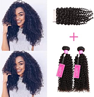 "ISEE Hair Virgin Malaysian Deep Curly Jerry Curly Human Hair 3 Bundles With 4x4 Free Part Lace Closure,100% Unprocessed Human Curly Hair Extensions(16""&18""&20""with 14""closure)"