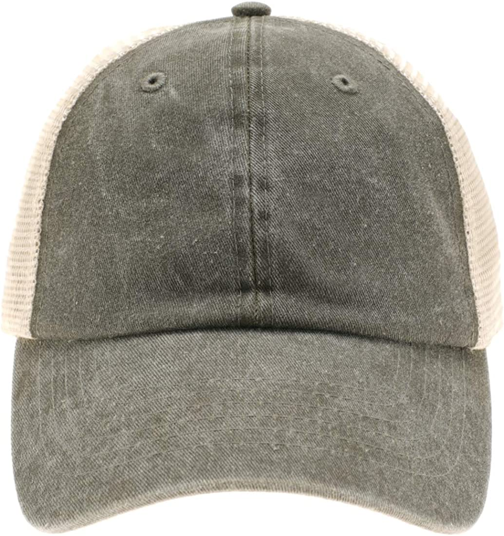 MIRMARU Washed Cotton Vintage Distressed Mesh Back Cap Comfortable and Breathable Trucker Baseball Hat