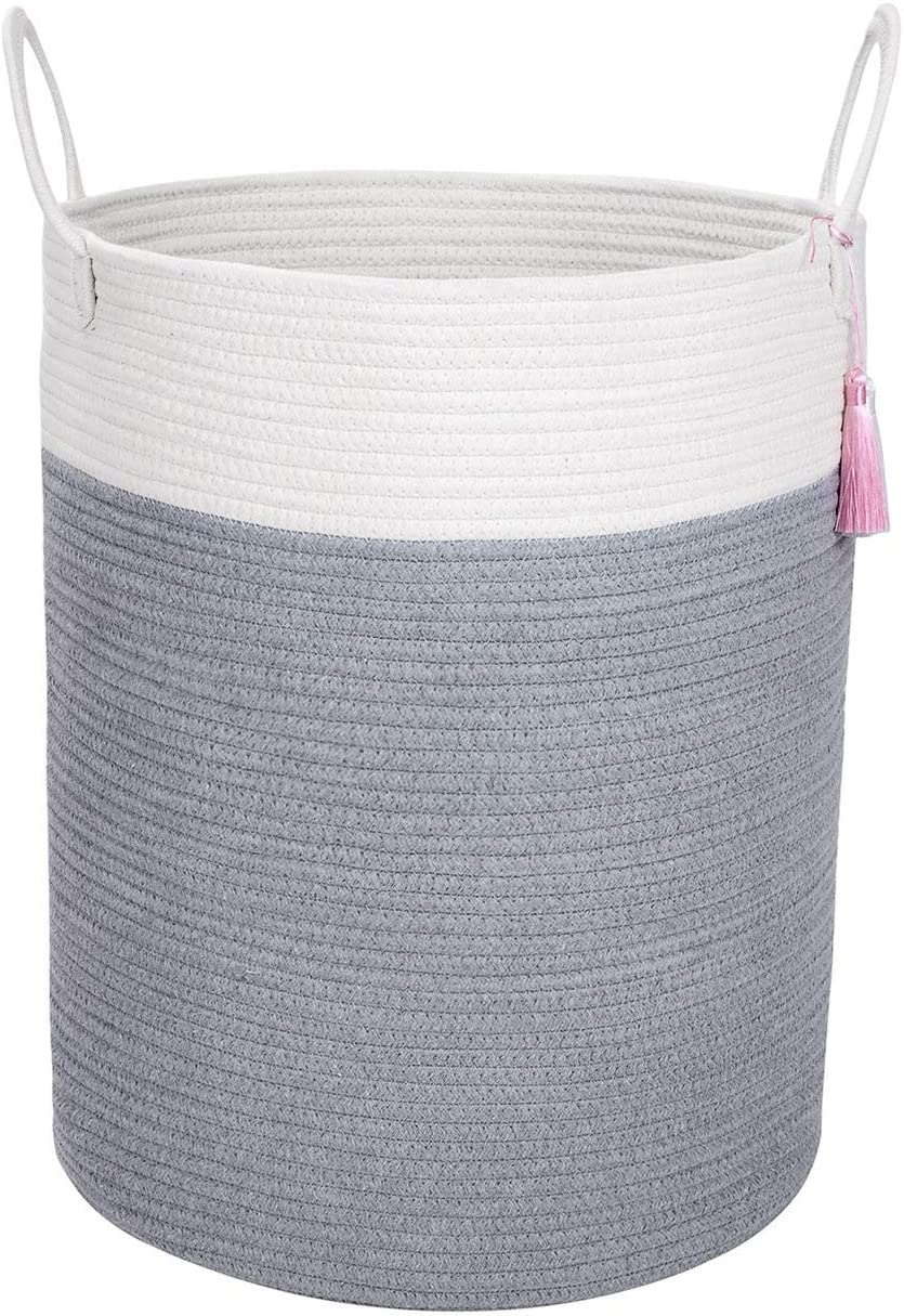 Acuity Gadget Large Cotton Rope Basket for Storage-Organize Your Living Room,Baby Nursery,Children/Pet Toys, Shoes, Pillows, Laundry, Towels/Clothes with This Premium Quality Woven Basket