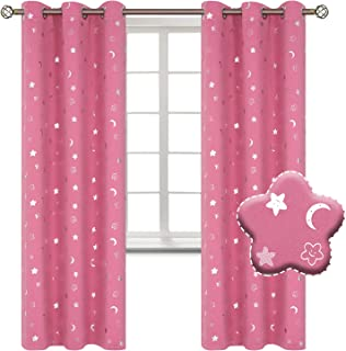 BGment Moon and Stars Blackout Curtains for Girls Bedroom, Grommet Thermal Insulated Room Darkening Printed Kids Curtains, 2 Panels of 42 x 84 Inch, Pink