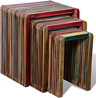 Festnight 3 Pieces Nesting Tables Reclaimed Teak Wood, Colorful
