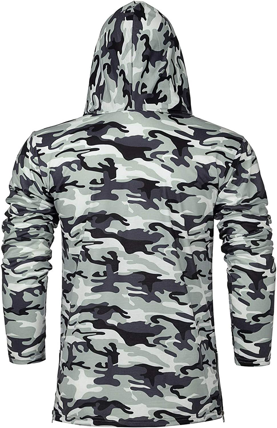 Mens Hoodie with Face Mask Turtleneck Compression Top Dry Baselayer Running Long Sleeve Thermal Sportwear
