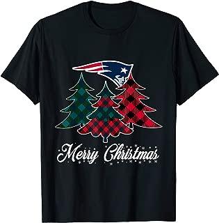 Merry Christmas Tree Football Team NewEngland-Patriot Fan T-Shirt
