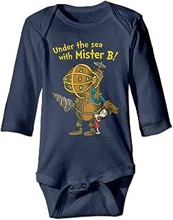 HYRONE Bioshock Game Poster Baby Bodysuit Long Sleeve Romper Suits Navy