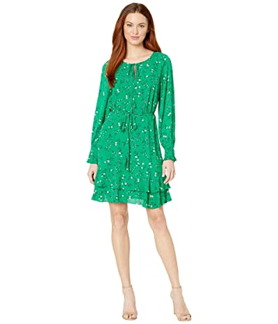 CeCe Long Sleeve Tossed Floral Side Tie Dress (Rich Kelly) Women