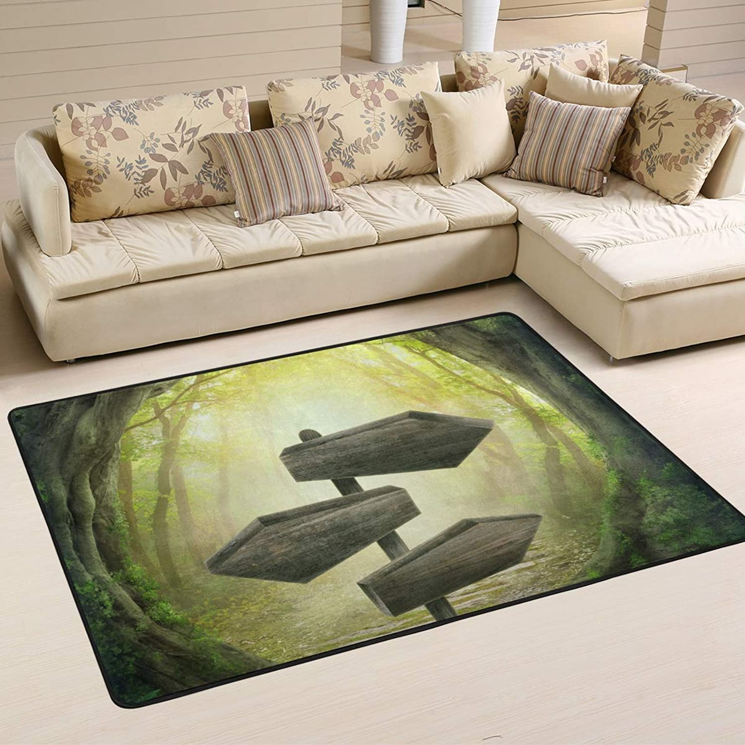 Area Rugs Doormats Mysterious Dream Forest Sign Passage Soft Carpet Mat 6'x4' (72x48 Inches) for Living Dining Dorm Room Bedroom Home Decorative