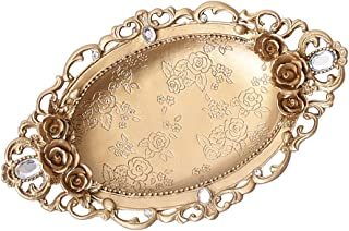 D DOLITY Gold Tone Resin Trinkets Dish Plate with Vintage Flower Room Decor