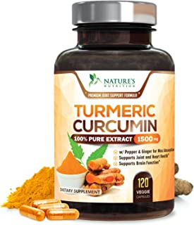 Turmeric Curcumin 100% Pure Extract 95% Curcuminoids with Bioperine Black Pepper for Best Absorption, Best Joint Support, ...