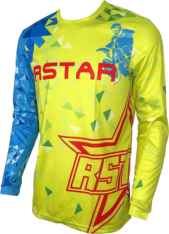 New sales Rstar Mens Dirt Bike Jersey Long Cycling Shirt Max 40% OFF Motocross Sleeve
