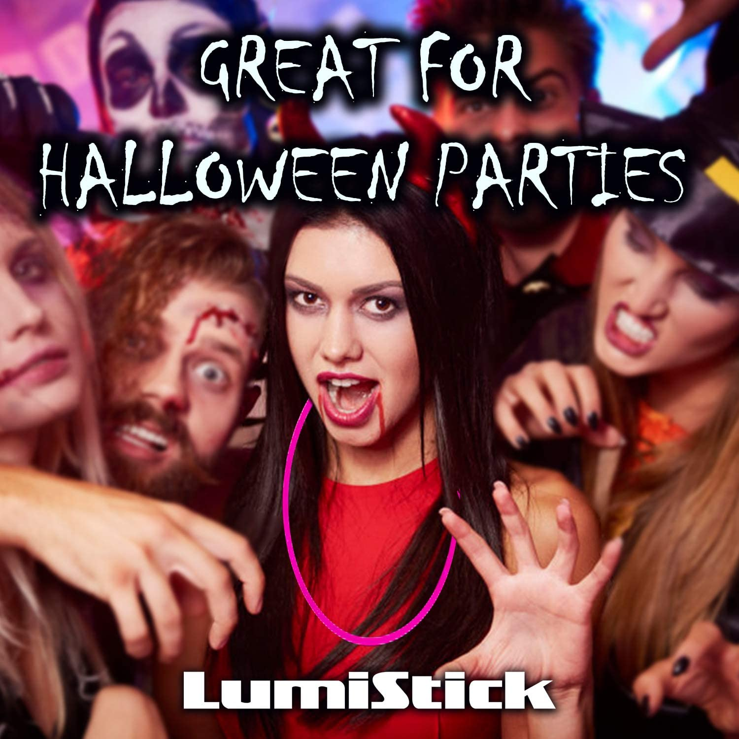 Lumistick 22 Inch Glow Stick Necklaces Non-Toxic /& Kids Safe Light Up Neckwear Aqua, 100 Necklaces Bendable Sticks with Connectors Glows in The Dark Night Party Favor