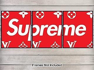 Supreme LV Logo Art Print - Wall Art Poster Set - Chic Home Decor for Office, Living Room, Bedroom, Boys or Teens Room, Dorm - Gift for Men, Louis Vuitton - Designer Fashion - Set of 3-8x10 Unframed
