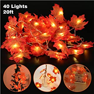 Christmas Garland Fall Maple Leaves String Lights- Artificial Foliage Leaf Hanging Decoration, 20ft Autumn LED Fairy Lights with Battery Operated Harvest Decor for Thanksgiving Home Party Wedding