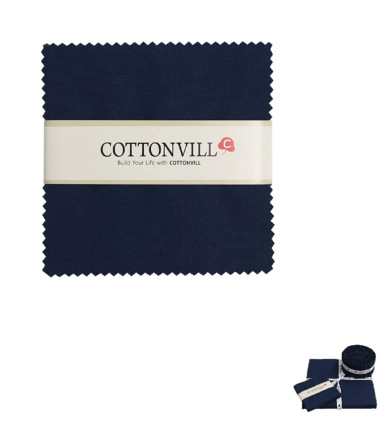 COTTONVILL Cotton Solid Precut Quilting Fabric Bundle 42 pcs, Navy (5