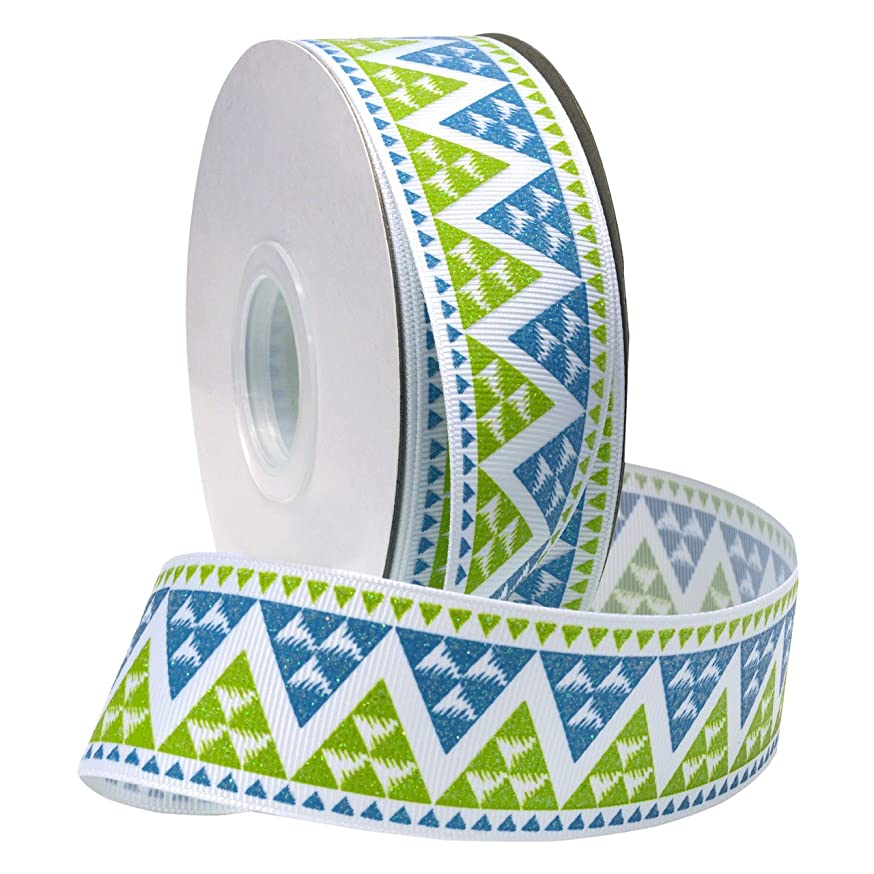 Morex Ribbon Navajo Glitter Grosgrain Fabric Ribbon with 1-1/2-Inch by 25-Yard Spool, Apple Green/Turquoise