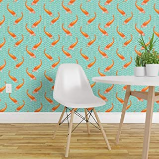 Spoonflower Pre-Pasted Removable Wallpaper, Japan Teal Turquoise Gold Fish Scales Goldfish Japanese Koi Waves Circles Summer Print, Water-Activated Wallpaper, 24in x 108in Roll