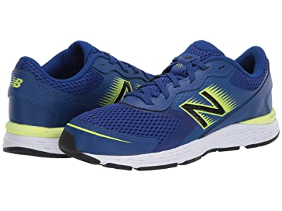New Balance Kids 680v6 (Little Kid/Big Kid) (Marine Blue/Lemon Slush) Boys Shoes