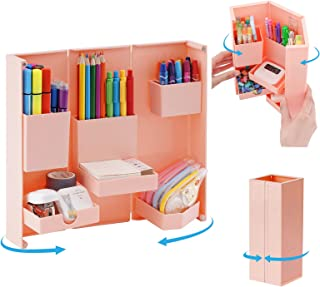 Marbrasse Foldable Pen Organizer, Cute Magnetic Opening and Closing Art Supply Organizer with Pencil Holder, Standable Mul...