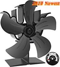 X-cosrack 5 Blades Heat Powered Stove Fan for Wood Log Burner Fireplace Slient Eco-Frienly Fan with Magnetic Thermometer Aluminium Large
