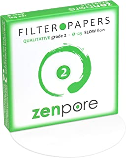 12.5 cm Lab Filter Paper, Standard Qualitative Grade 2 - ZENPORE Slow Flow (100 Discs - 125 mm)
