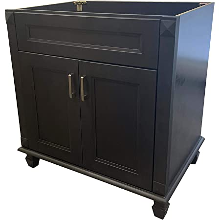 Amazon Com 30 Wide X 21 Deep New Carbon Metallic Black Single Sink Bathroom Vanity Base Cabinet Ncm V3021 Kitchen Dining