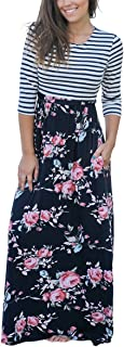 Women's Casual Floral Printed Short/Full Sleeve Maxi Long Dress with Pockets(S-3XL)