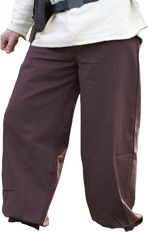 Battle Merchant Pantaloni medioevali Cintura Pantaloni, Marronee Scuro di Cotone - Larp Medioevo Vi ngo - XL