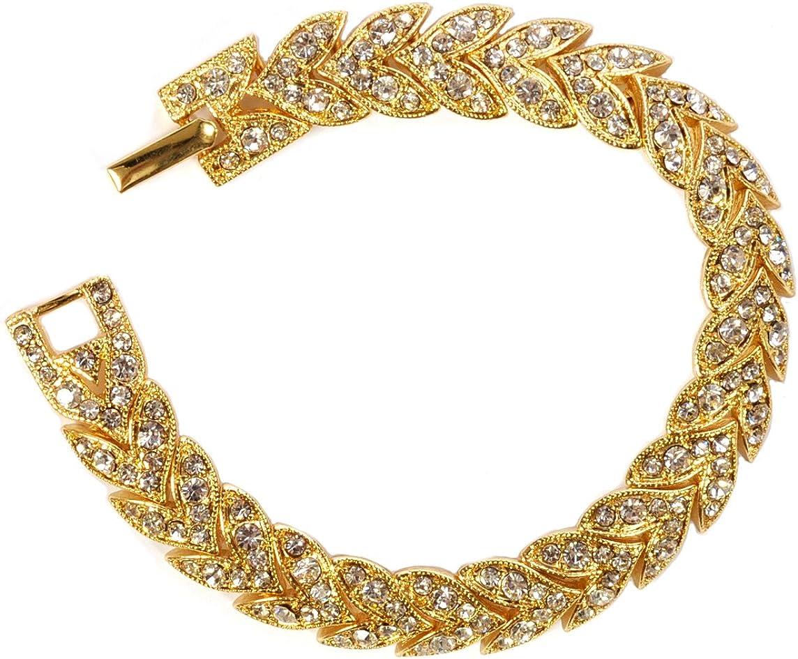Inventory cleanup selling sale Topwholesalejewel Gold Crystal Rhinestone Chevron Bracele Tennis Ranking TOP10