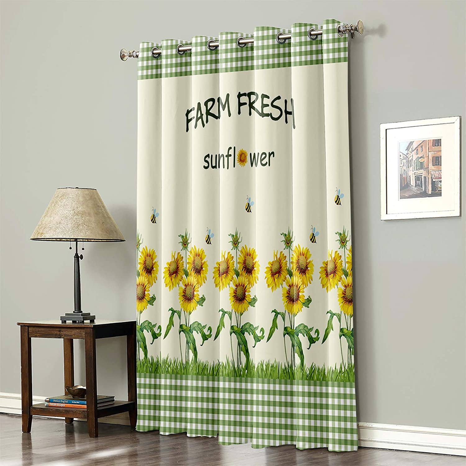 Blackout Curtain for Bedroom Farm Sunflower Fresh Outstanding on Green Outlet sale feature Plai