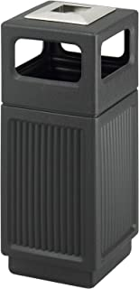 Safco Products Canmeleon Outdoor/Indoor Recessed Panel Trash Can with Ash Urn 9474BL, Black, Decorative Fluted Panels, Stainless Steel Ashtray, 15 Gallon Capacity