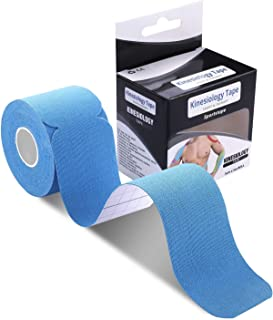 poshei Kinesiology Tape Precut, Elastic Therapeutic Sports Tape - Pain Relief Adhesive for Shoulder Knee Elbow Ankle, Waterproof, Breathable, Latex Free (1 Pack Blue Tape)
